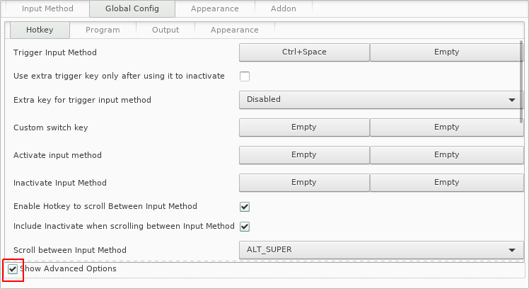 "Figure 9: A screenshot of the ""Global Config"" settings in the fcitx configuration window"