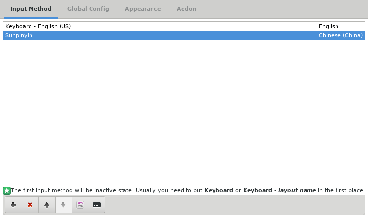 Figure 7: A screenshot of the English US and Sunpinyin input methods listed in the fcitx configuration window